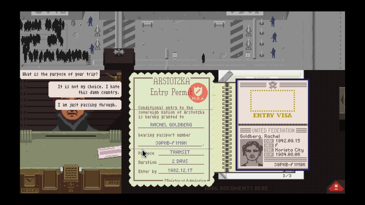 Papers, Please for macOS gameplay