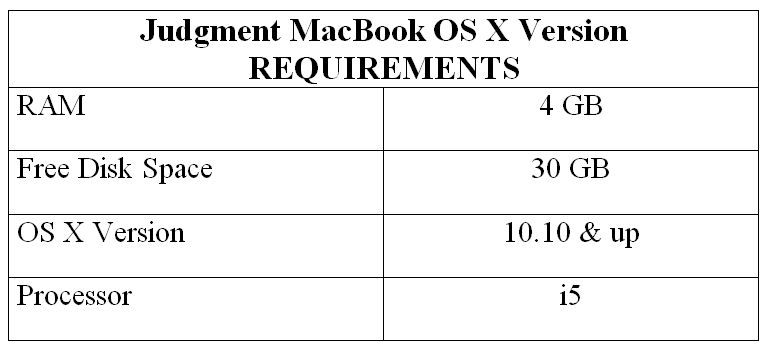 Judgment MacBook OS X Version REQUIREMENTS
