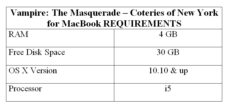 Vampire: The Masquerade – Coteries of New York for MacBook REQUIREMENTS
